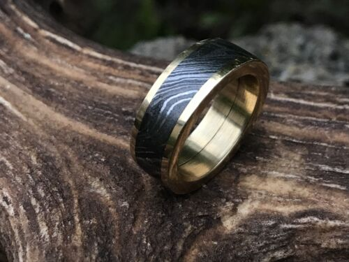 HUNTEX Unique Damascus Ring with Brass Inlay Ring Size 10 Mens Gift Jewellery