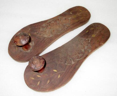 Antique Old Rare Hand Carved Inaly Brass Work Hindu Saint Wooden Slippers Khadau