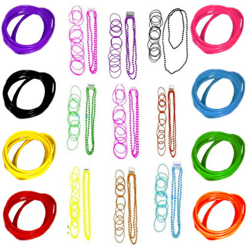 12 x NEON UV BRIGHT GEMS GUMMIES WRISTBAND SHAG JELLY 80's BAND BANGLE BRACELETS