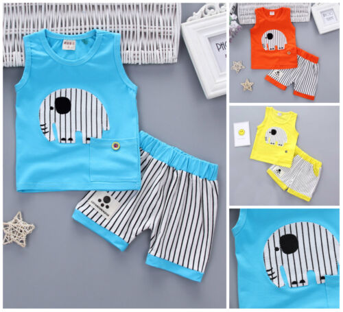 2pcs baby toddler Kids boys summer holiday outfits Tee+ short pants elephant;