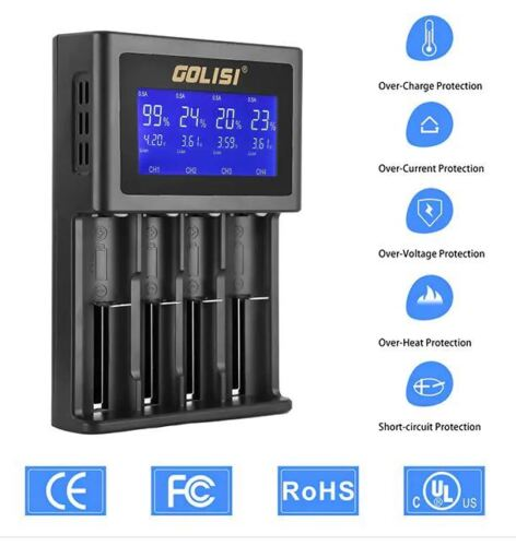 GOLISI S4 Smart lithium LI-ION LCD battery Charger 18650 20700 26650 RCR123A aa