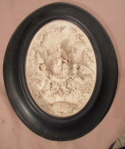 antique 1850 carved sculpted pottery bisque religious wall sculpture art icon