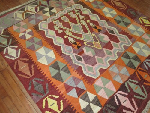 Vintage Decorative Turkish Anatolian Oushak Ushak Square Kilim Rug 6'8''x7'