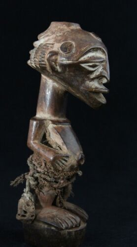 old African tribal art, small wooden Songye Nkisi figure with Cascade Coiffure