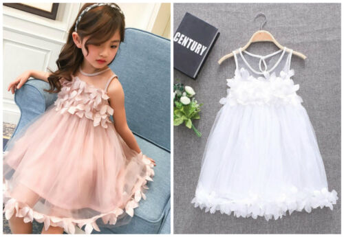Girls baby infant kids clothes summer dress baptism party pageant formal dress