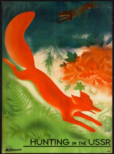 Hunting in the USSR Vintage Russia Russian Travel Advertisement Art Poster