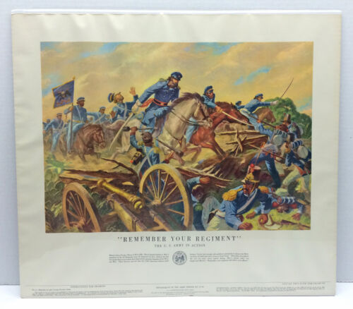 """Original Vintage """"Remember Your Regiment"""" Dept. of the Army Poster No. 21-40Other Militaria - 135"""