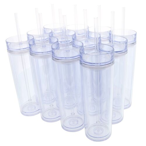 Set Of 12 Double Wall Skinny Acrylic Tumblers 16 Oz, With Straws