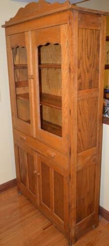 Vintage antique Country drawer pie safe Jelly Cupboard (13 1/2Dx37Wx72H)