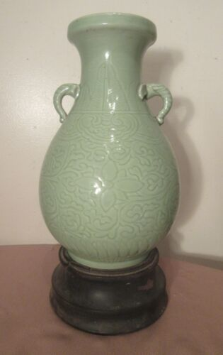 large antique 1800's handmade Chinese céladon Yongzheng six-character mark vase