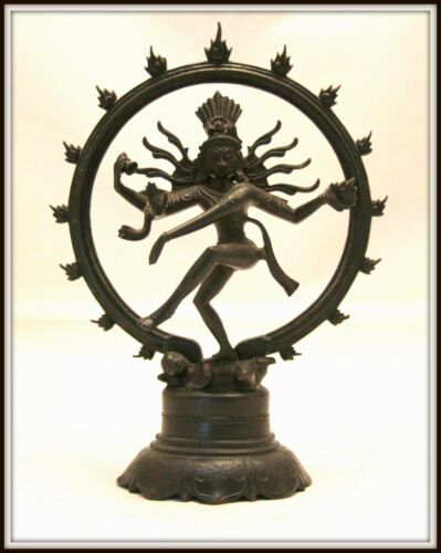 "Dynamic! ""Bronze Shiva from India"" Black Patina  (8"" H x 6"" W) Intricate Detail"