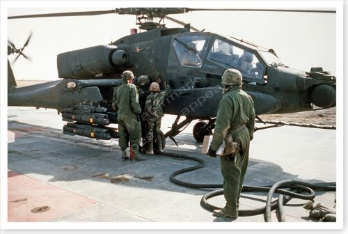 AH-64A Apache Attack Helicopter Being Refueled Desert Storm 8 x 12 Photo