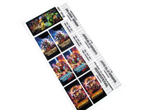 STICKERS for LEGO 10232 cinema 10184 , Guardians of the Galaxy , Infinity Wars