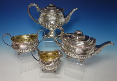 Thomas Bowen English Sterling Silver Coffee Set 4pc with Floral Border (#2726)