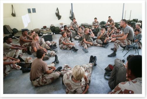 Female Military Personnel Briefed Before Departure Desert Shield 8 x 12 Photo