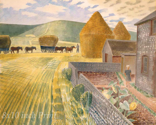 Bringing in the Hay by Eric Ravilious - Farm Work Stack Horse  8x10 Print 2087