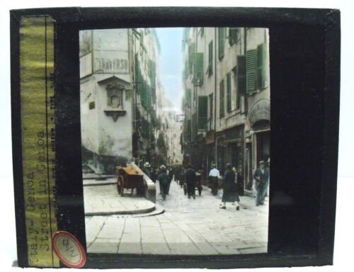 ITALY- STREET IN GENOA vintage color Magic Lantern Glass Slide