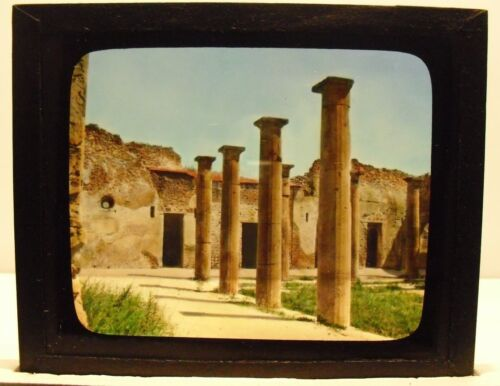 ITALY- POMPEII vintage color Magic Lantern Glass Slide