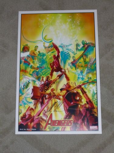 2014 SDCC AVENGERS ART PRINT SIGNED EDITION BY ALEX ROSS 11x17