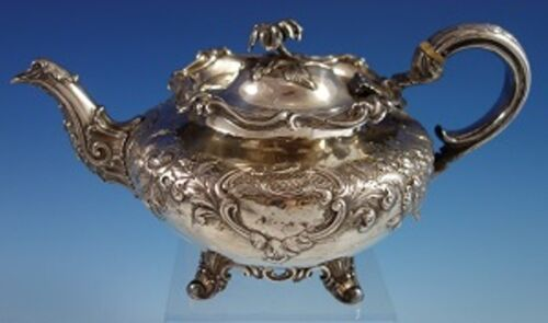 John Emes English Sterling Silver Tea Pot with Repoussed Flowers c. 1806 (#2716)