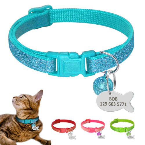 Sequins Break Away Cat Collar & Personalised Engrave Stainless Steel Cat Tags