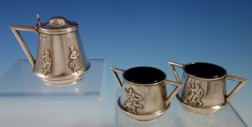 Mappin & Webb English Sterilng Silver Condiment Set 3pc Applied Figures (#2768)