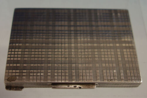 Czechoslovakia .900 Silver Card Case Engine Turned Design All Sides (#2795)