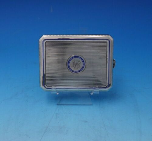 Austrian .750 Silver Card Case Engine Turned with Blue and White Enamel (#2796)