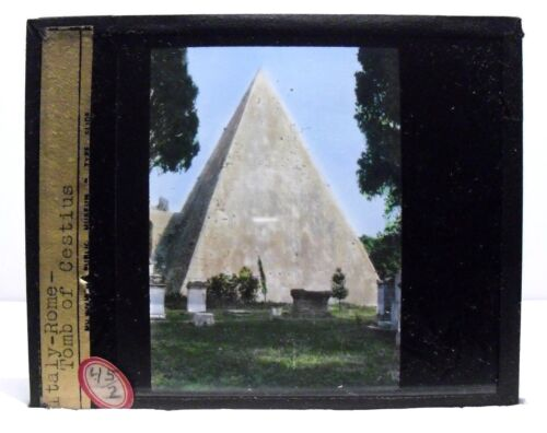 ITALY, ROME - PYRAMID OF CESTIUS, Tomb, vintage color Magic Lantern Glass Slide