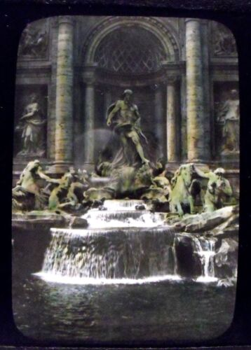 ITALY, ROME - TREVI FOUNTAIN vintage color Magic Lantern Glass Slide