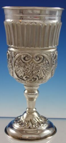 Judaica Israel Sterling Silver Goblet w/ Grapes and Gold Washed Interior (#2847)