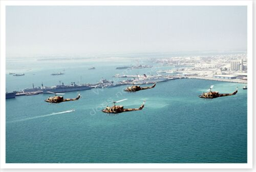 UH-1N Iroquois Helicopters In Formation Manama Bay Desert Storm 8 x 12 PhotoReproductions - 156449