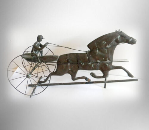 Weathervane with sulky and horse - vintage folk art - copper patina