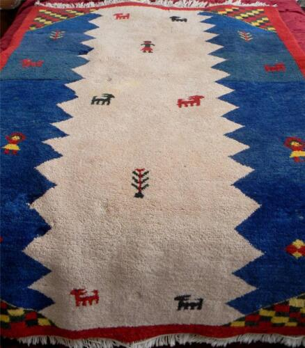 Hand knotted large vintage wool carpet with Indian motiff