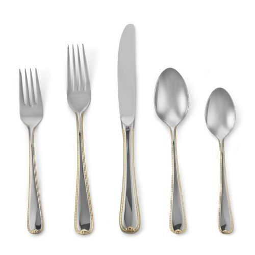 Golden Ribbon Edge by Gorham Stainless Steel Flatware Set Service for 6 New 30pc