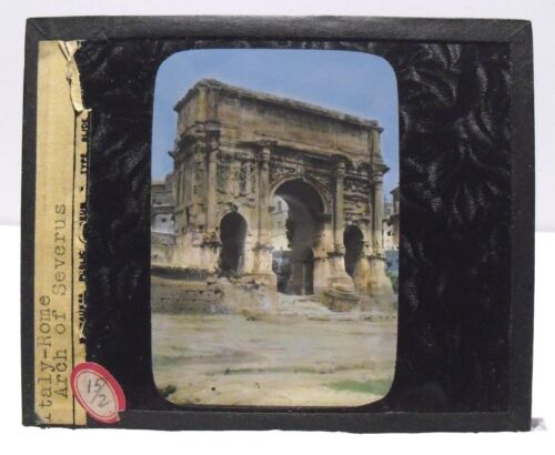 ITALY- ROME - ARCH OF SEPTIMIUS SEVERUS vintage color Magic Lantern Glass Slide