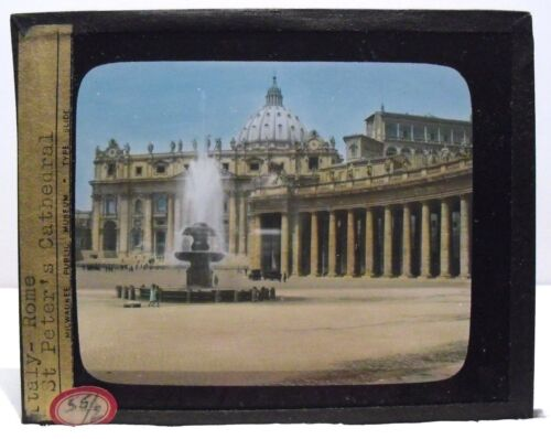 ITALY- ROME - ST. PETER'S CATHEDRAL vintage color Magic Lantern Glass Slide