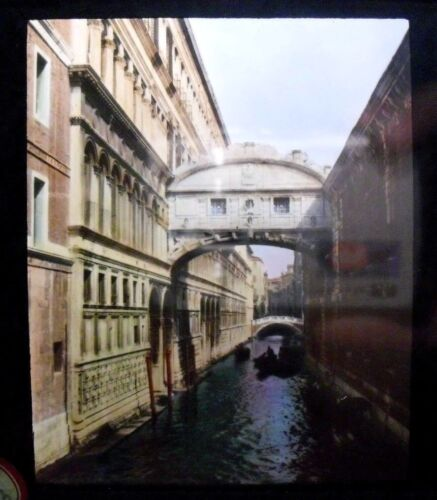 ITALY- VENICE - BRIDGE OF SIGHS vintage color Magic Lantern Glass Slide