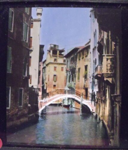 ITALY- VENICE - CANAL IN VENICE vintage color Magic Lantern Glass Slide