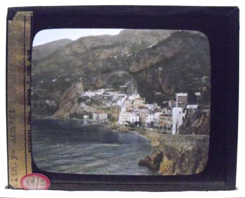 ITALY- AMALFI vintage color Magic Lantern Glass Slide