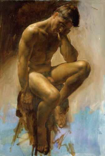 LMOP575 portrait nude man sitting on chair hand painted art oil painting canvas