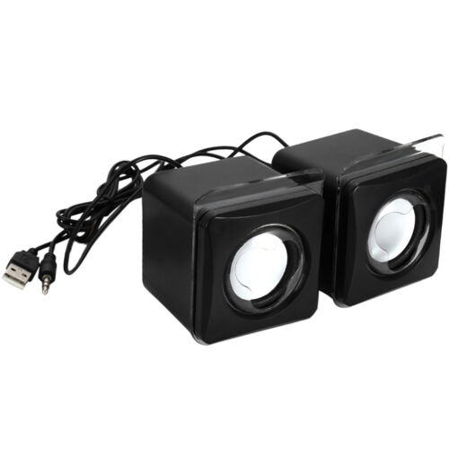 Pair Mini USB Speakers 3.5MM AUX Wired Laptop Speakers for PC MP3
