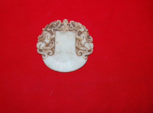 Chinese Chicken Fat Jade Carved Medallion Man and Two Dragons