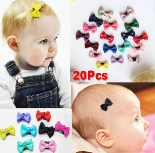 20Pcs Kids Baby Girl's Bow Ribbon Hair Bow Mini Latch Clips Hair Clip Hairpins