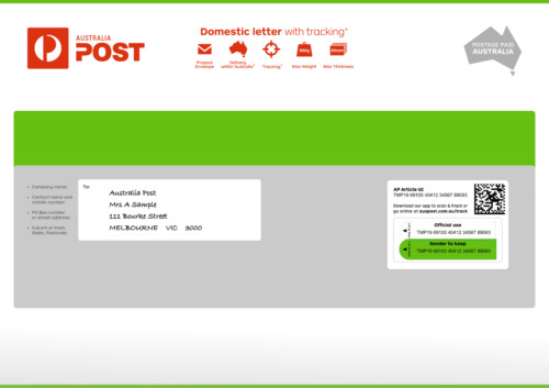 Domestic letter with tracking Large Prepaid Envelope - Pack of 10 <br/> AusPost Domestic letter with tracking C4 - Pack of 10