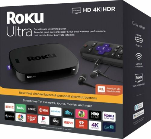 Roku ULTRA Streaming Player HD Media IT Movies TV Netflix Ultra 4K HDR 2018 Ver