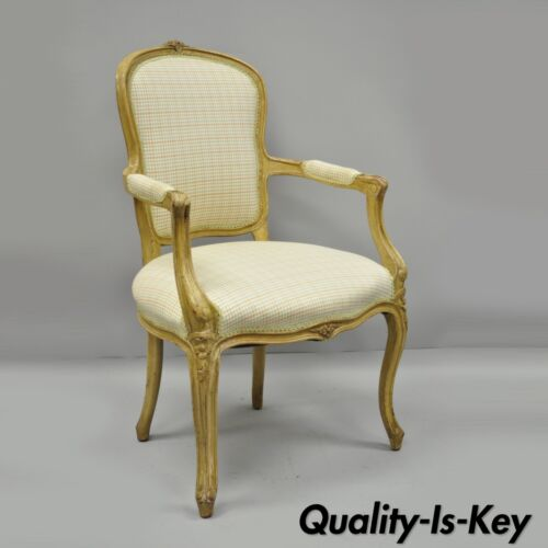 French Country Louis XV Style Armchair Fauteuil Carved Wood Chair A