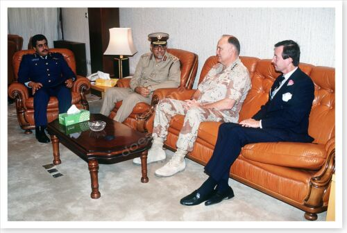 General Norman Schwarzkopf With Qatar Officers Operation Desert Storm 8x12 PhotoReproductions - 156449