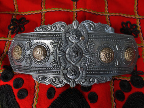 TOP PRICE! LARGE SIZE MACEDONIAN GREEK SILVER+GOLD COLOR FOLKLORE BELT BUCKLE