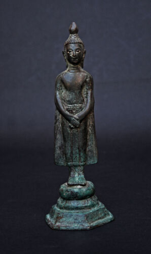 ANTIQUE THAI BRONZE ENLIGHTENED BUDDHA - ANCIENT EXCAVATED FIGURE - SUKHOTHAI